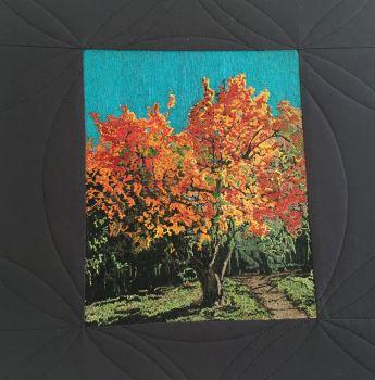 Thread painting of pear tree